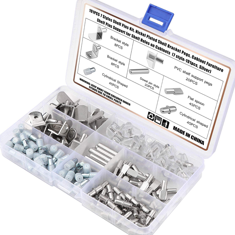 OCR 191PCS 7 Styles Shelf Pins Kit Nickel Plated Shelf Bracket Pegs Shelf Pins Support for Shelf Holes on Cabinet Furniture