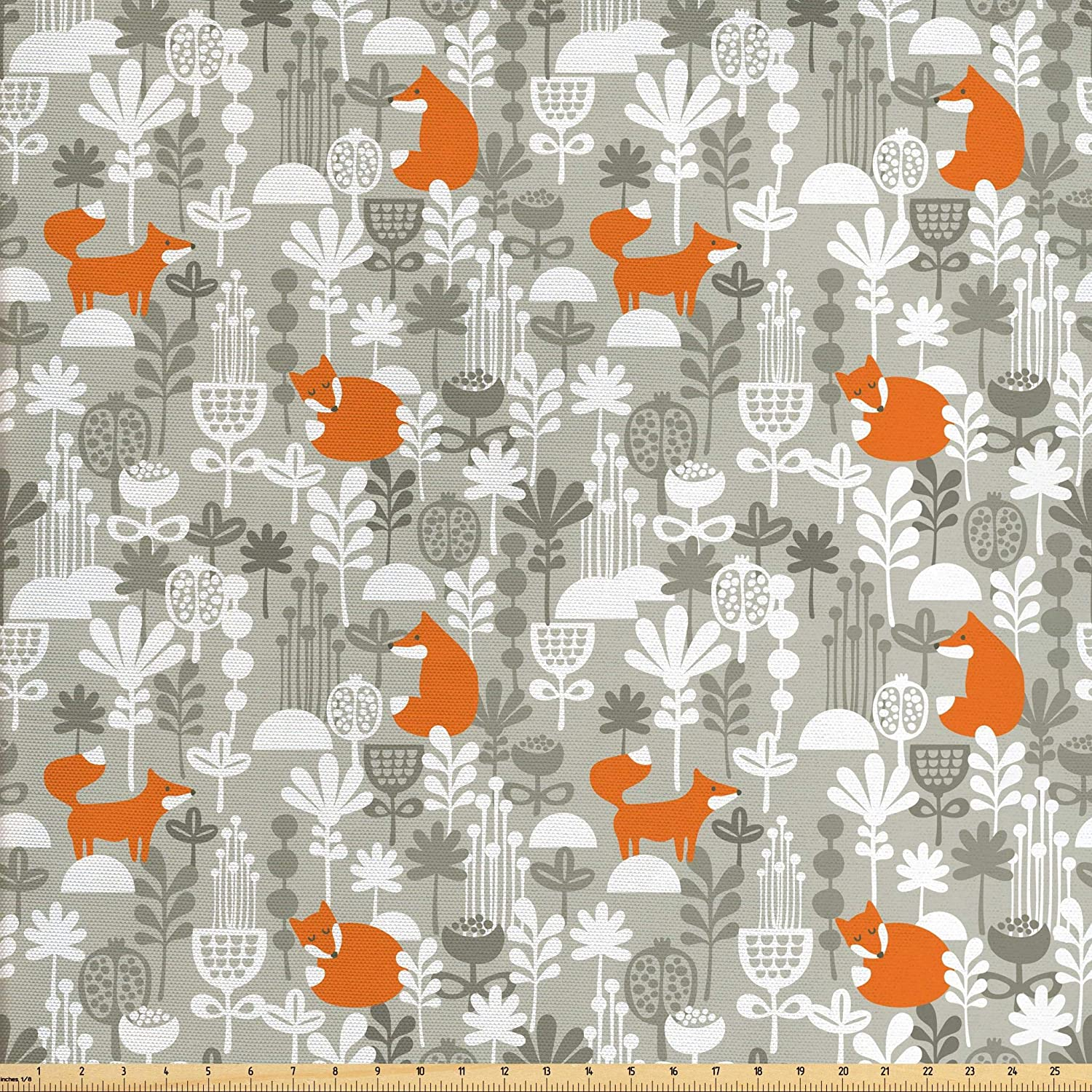 Ambesonne Fox Fabric by The Yard, Small Animals of The European Forests Doodle Style Floral Arrangement, Decorative Fabric for Upholstery and Home Accents, 2 Yards, Orange White