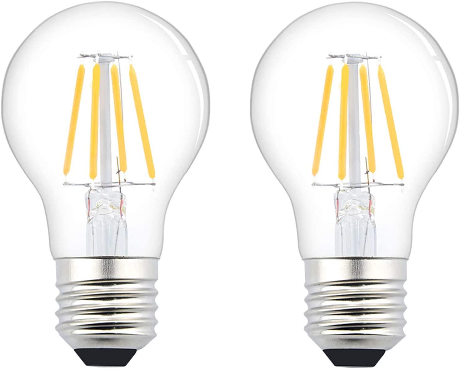 Luxvista 12V-36V E26 LED Bulb - 4W A19 Edison Filament LED Light Bulb E26 Medium Base Lamp Low Voltage Battery System RV Marine Boat Solar Train Lighting Warm White 2700K (2-Pack)