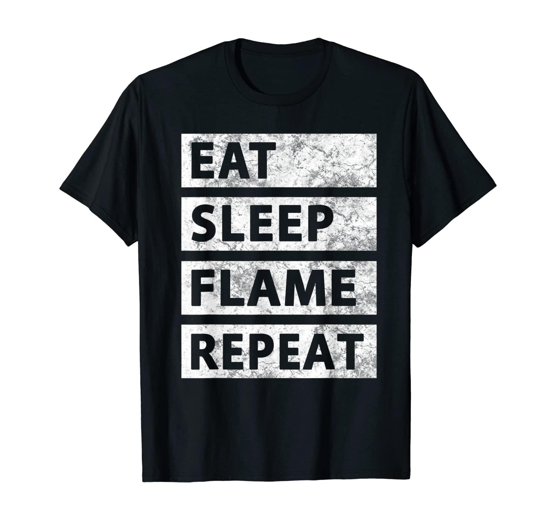 Funny Flaming Gaming Gamer Eat Sleep Flame T-Shirt