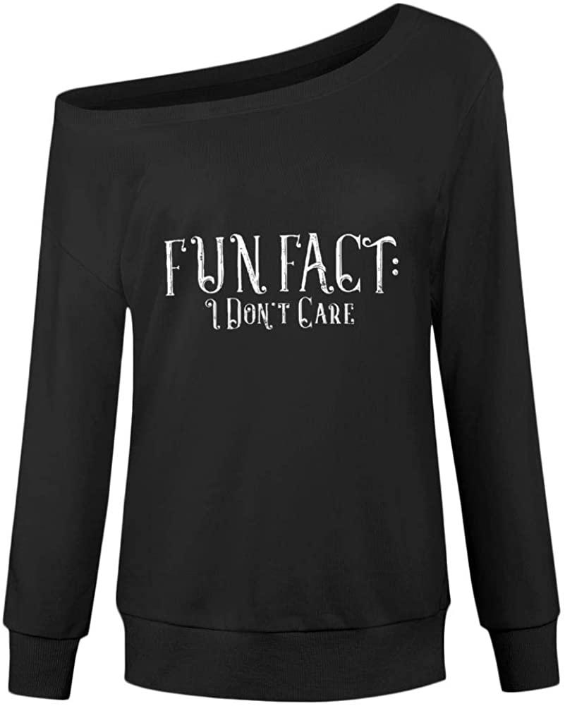 Fun Fact I Don't Care Print Women's Sweatshirt,Novelty Off Shoulder Tops for Women