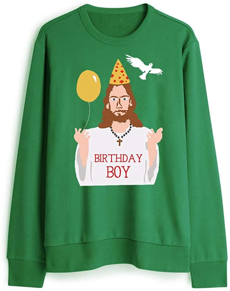 Rocksir Women Men Birthday Boy Funny Ugly Christmas Sweater Happy Birthday Jesus Sweatershirt