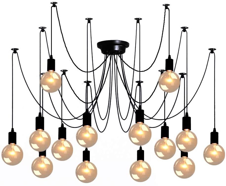Spider Pendant Lamps 14-Light, Adjustable DIY Ceiling Spider Lamp Light, Industrial Hanging Lights for Resturant, Hotel, Living Room, Dining Room Decoration