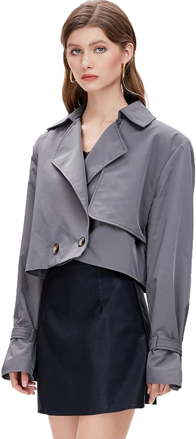 M Retail 2020 Fall/Winter Fashion Women Lapel Long Sleeve Quilted Jacket Short Trench Coat Grey Jacket