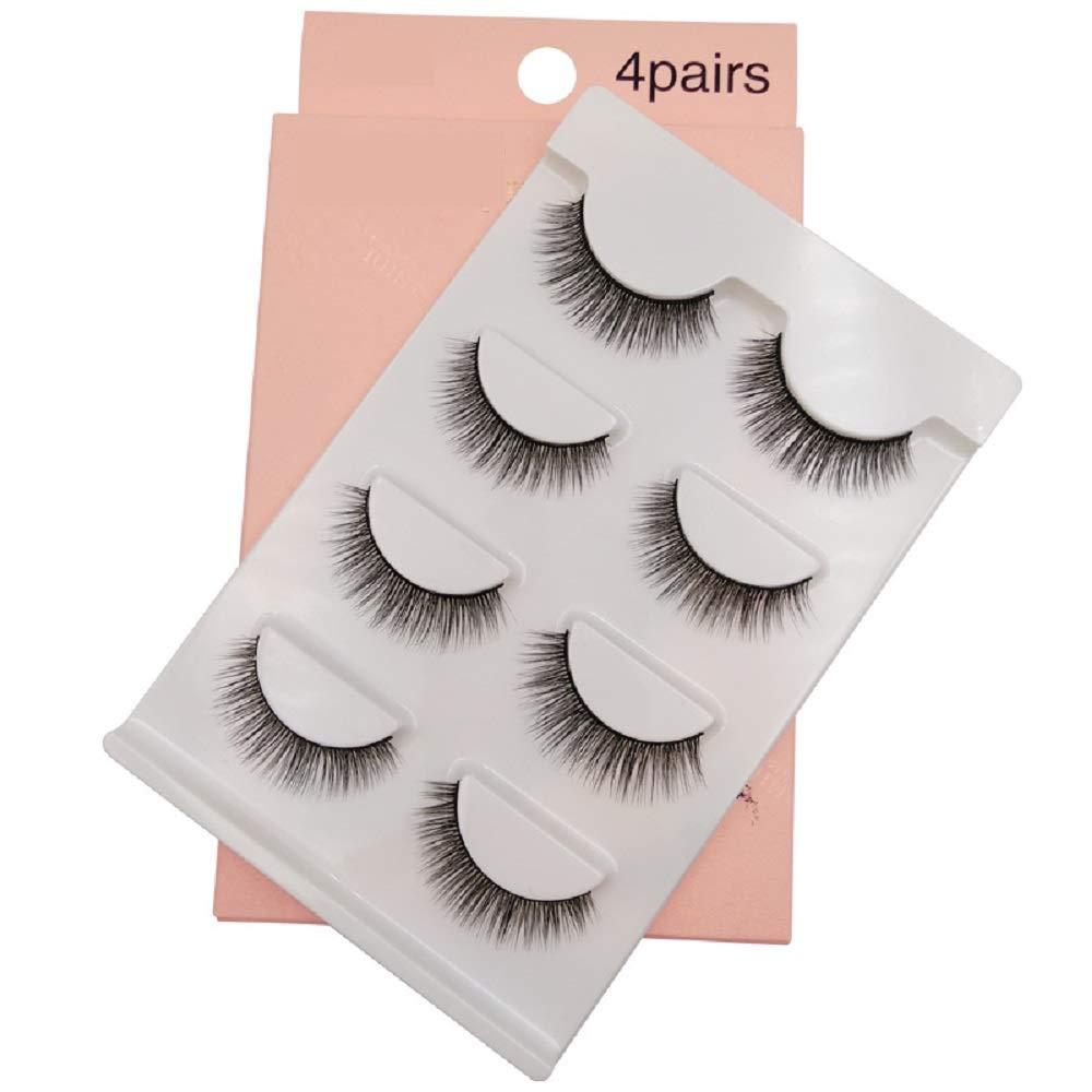 4 pairs natural false eyelashes lashes long makeup 3D mink lashes eye lash extension beauty tools (3)