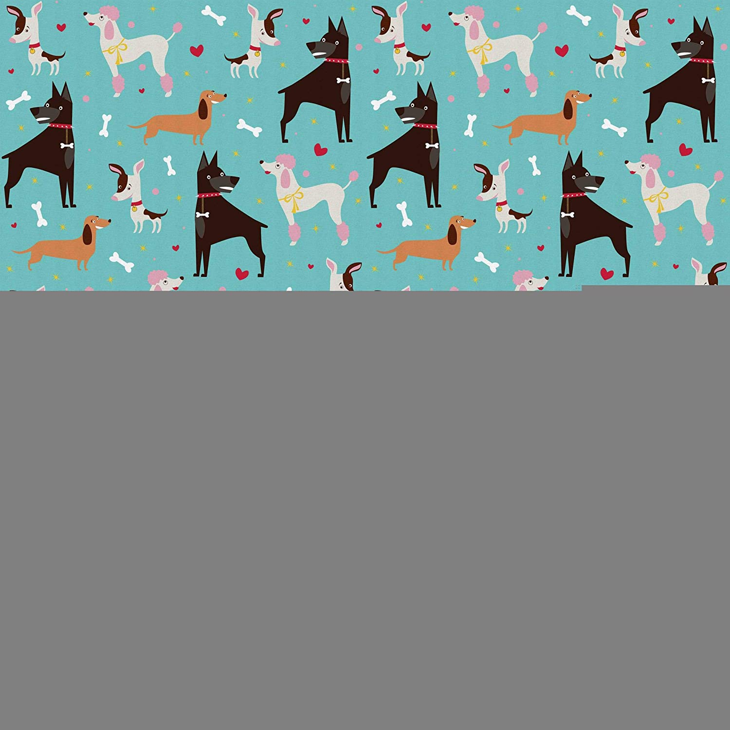 Lunarable Dog Fabric by The Yard, Baset Hound Doberman Terrier and Poodle Breeds and Bones for Pet Lovers Graphic Image, Microfiber Fabric for Arts and Crafts Textiles & Decor, 1 Yard, Multicolor