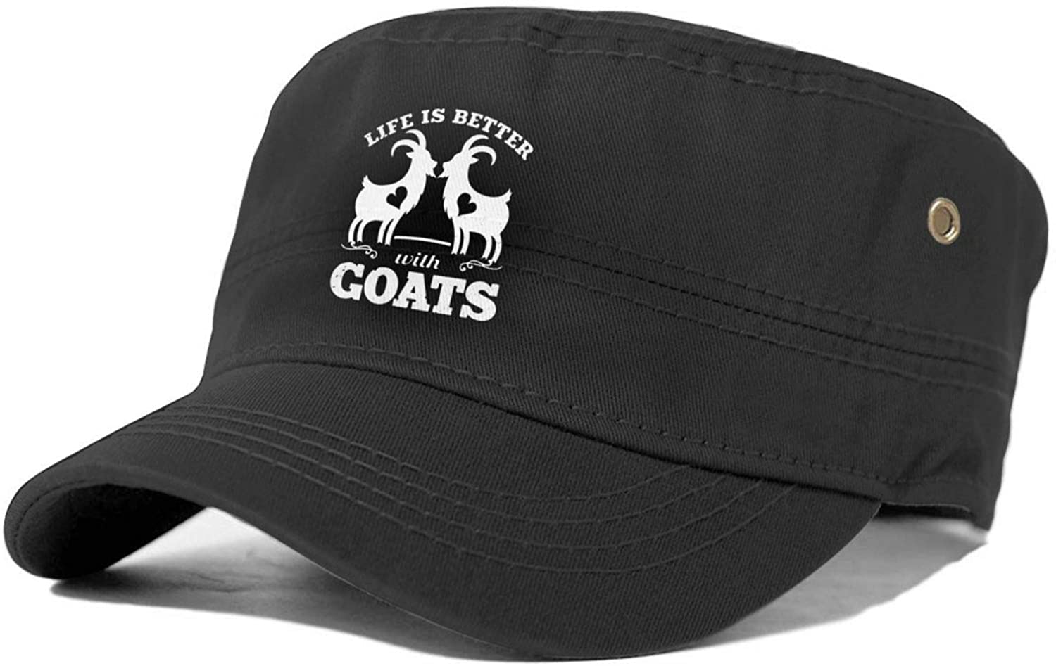 Life is Better with Goats Unisex Cap Military Cap Cowboy hat Adjustable Cadet Army Cap Basic Everyday Military Style hat