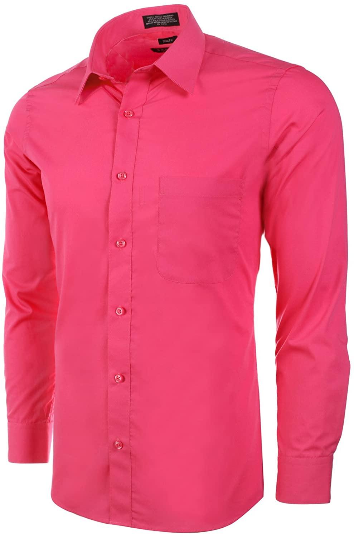 Marquis Slim Fit Dress Shirt - Fuchsia,Large 16-16.5 Neck 32/33 Sleeve