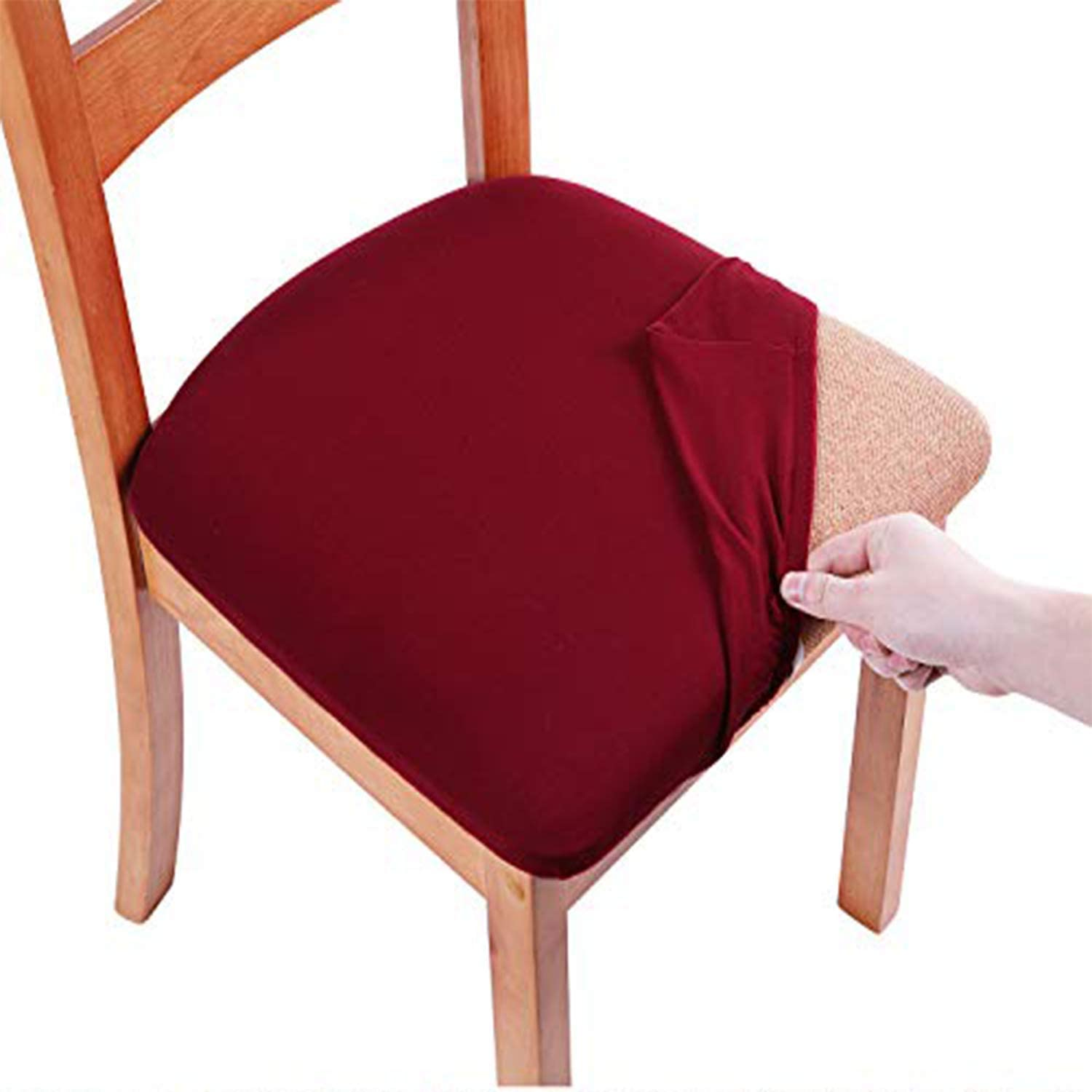 Smiry Printed Dining Chair Seat Covers - Stretchy Removable Washable Upholstered Chair Seat Slipcover Protector (Set of 4, Burgundy)