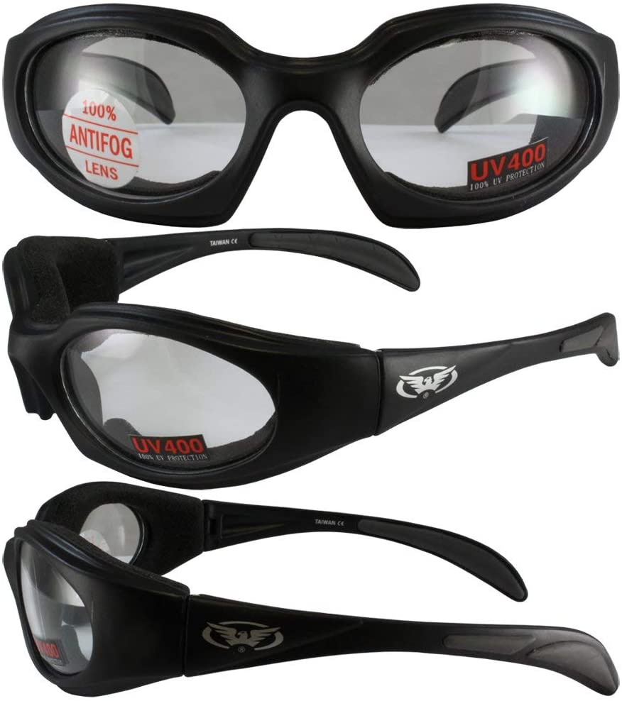 Global Vision LTD Motorcycle Padded Riding Sunglasses Black Frame Clear Lens