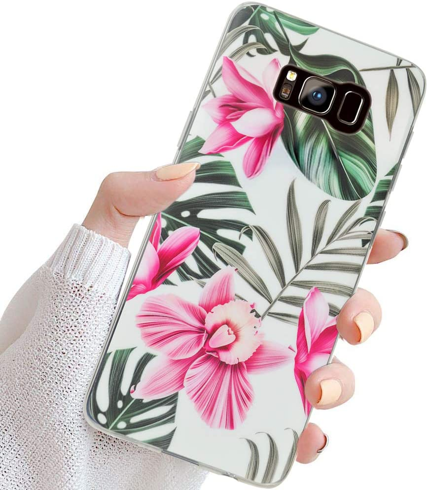 Feimeng Compatible Galaxy S8+ Plus Case for Girls,Slim Thin Fit Full-Around Protective Cute Soft Shell Phone Case with Pink Floral and Green Leaves Pattern for Galaxy S8 Plus(Red Flowers)