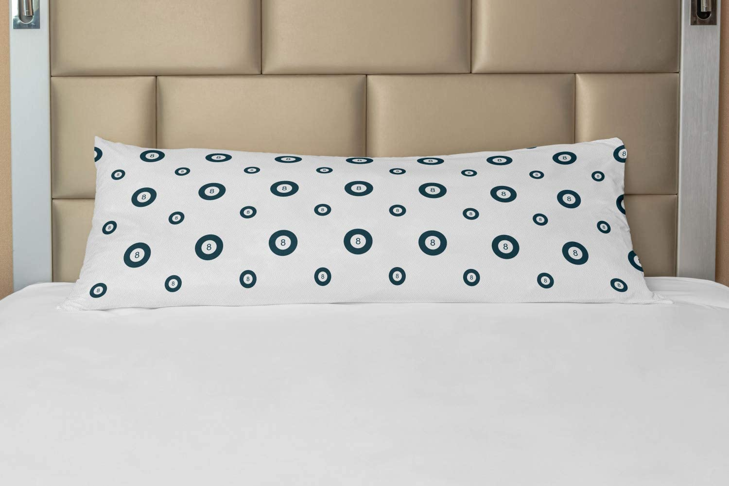Lunarable Billiard Body Pillow Case Cover with Zipper, Pool Themed Pattern with 8 Ball and Thin Zigzags Image, Decorative Accent Long Pillowcase, 21