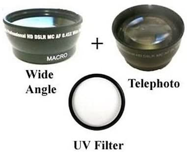 Wide Lens + Tele + UV Kit for JVC GY-HM150, JVC GY-HM70 GC-PX10, JVC GY-HM70U, JVC GY-HM150U