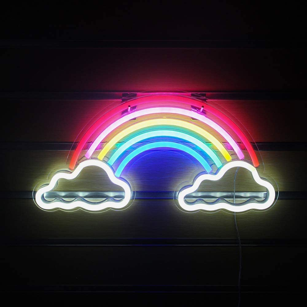 Neon Signs for Wall Decor, USB Operated LED Neon Lights for Man Cave, Bedroom, Bathroom, Bar, Party, Christmas Gifts, Cute Night Light Lamp(Rainbow,Hanging Hole&Acrylic Backboard)