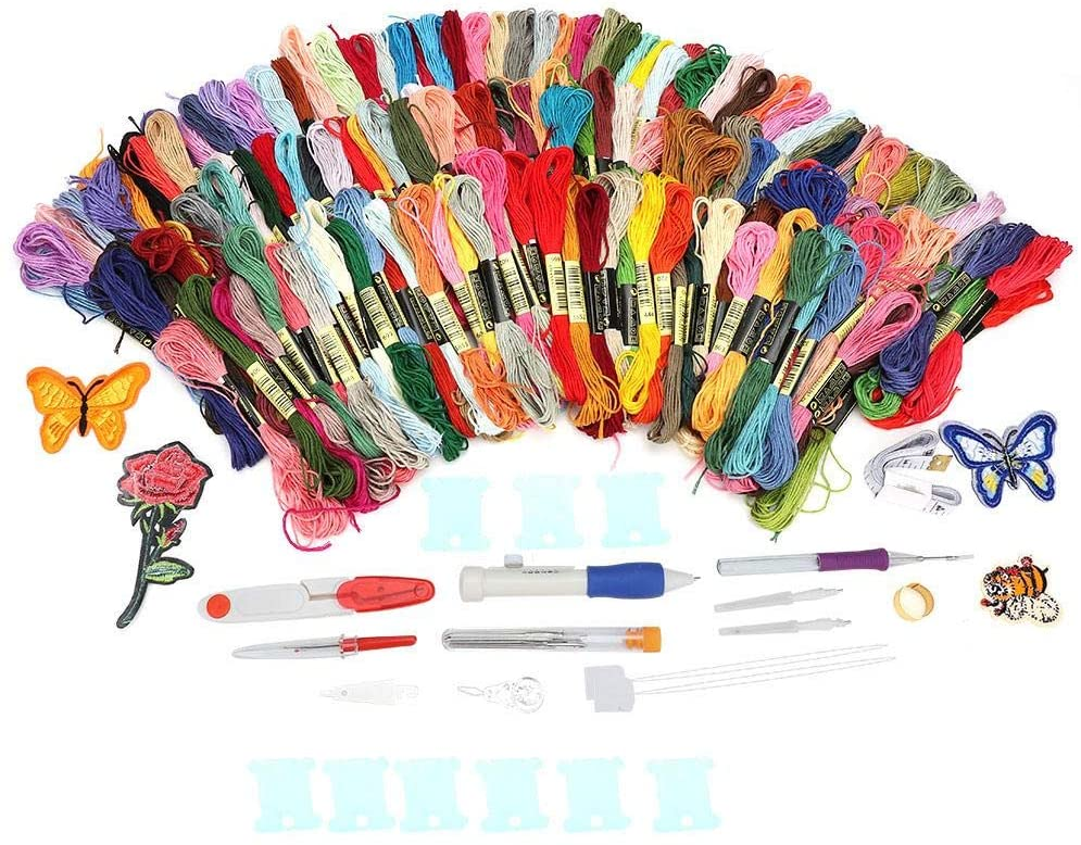 HEEPDD 150 Colors Embroidery Set, Cross-Stitch Needle Felting Beginners DIY Punch Knitting Set with 4 Cloth Sticker Full Range of Cross Stitch Tool Kit Including Threads Thimble Wire-wrap Board etc
