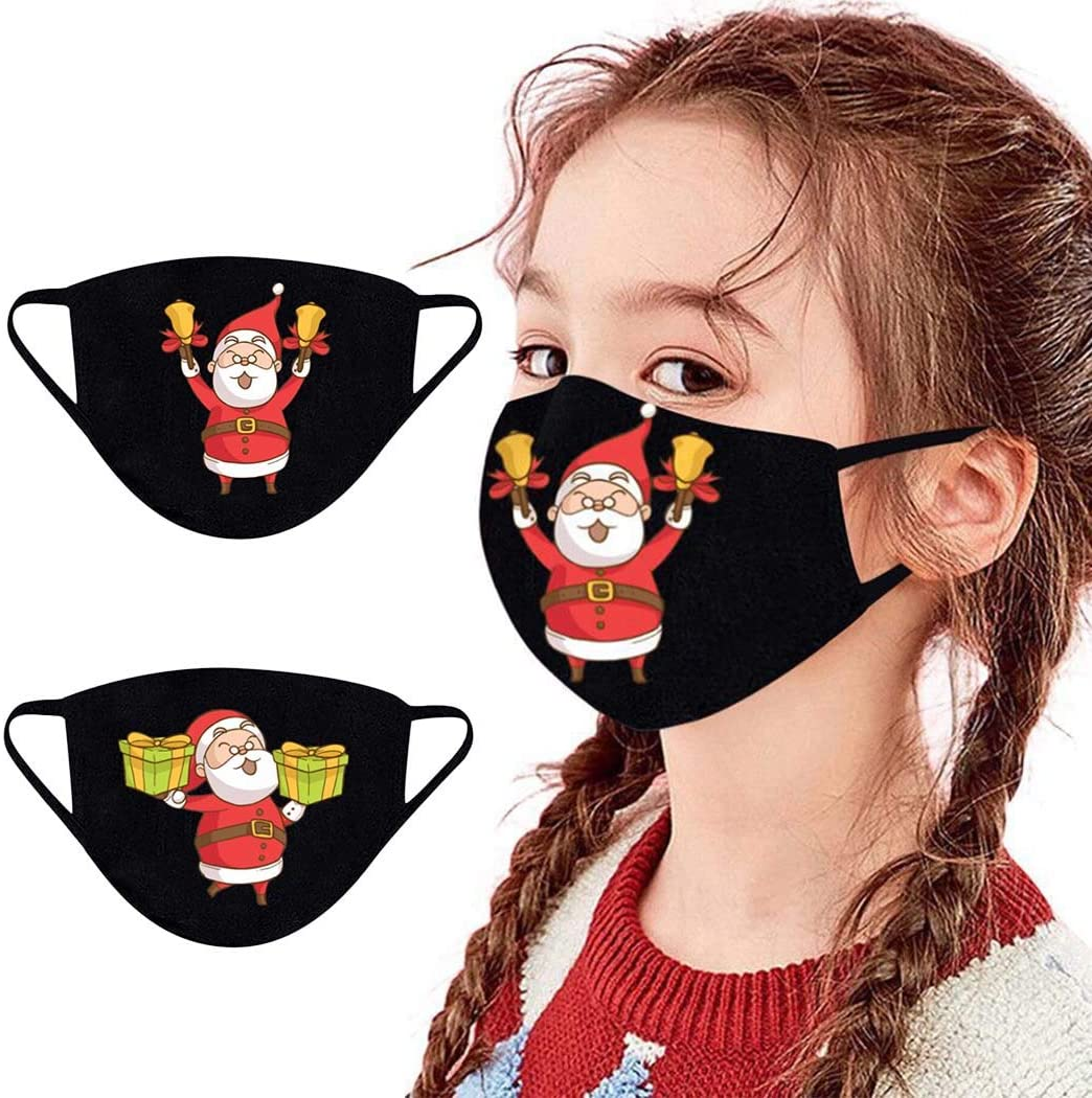 YBSHIN Christmas Kids Mouth Covers Santa Claus Mouth Bandanas Cotton Christmas Gifts Party Reusable Washable Cute Cartoon Print Mouth Jewelry for Children (Pattern1)
