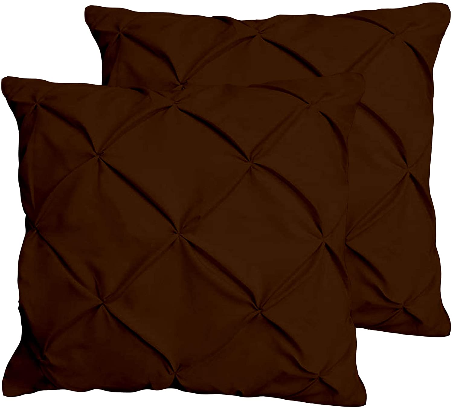 JBD LINEN Pinch Pleated Pintuck Design Big Euro Pillows Sized 28 x 28 inch Cushion Cover Set of 2 Piece, 800 Thread Count 100% Egyptian Cotton Brown Solid