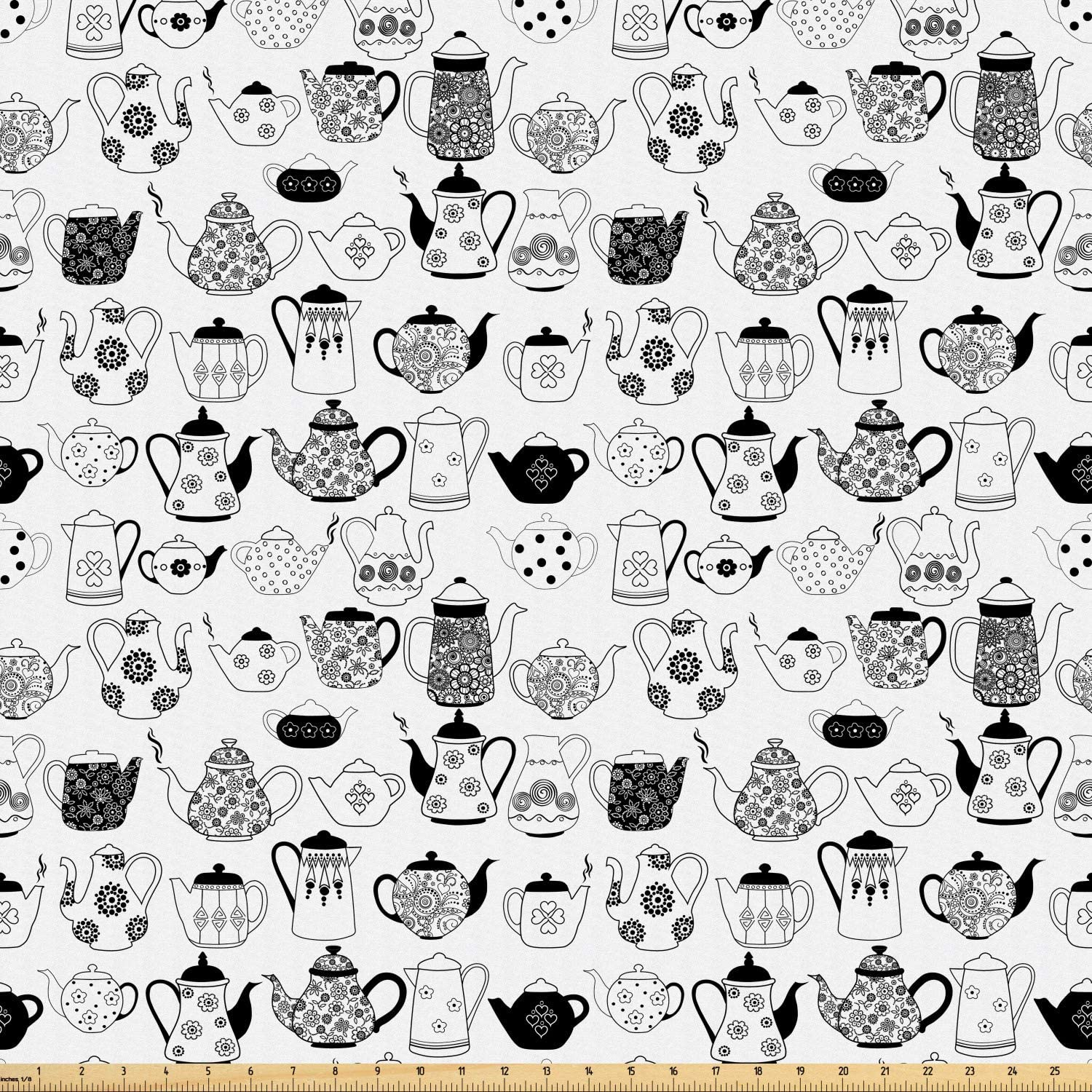 Ambesonne Tea Party Fabric by The Yard, Floral Patterned Cups with Different Designs Monochrome Timeless Kitchenware, Microfiber Fabric for Arts and Crafts Textiles & Decor, 1 Yard, Charcoal