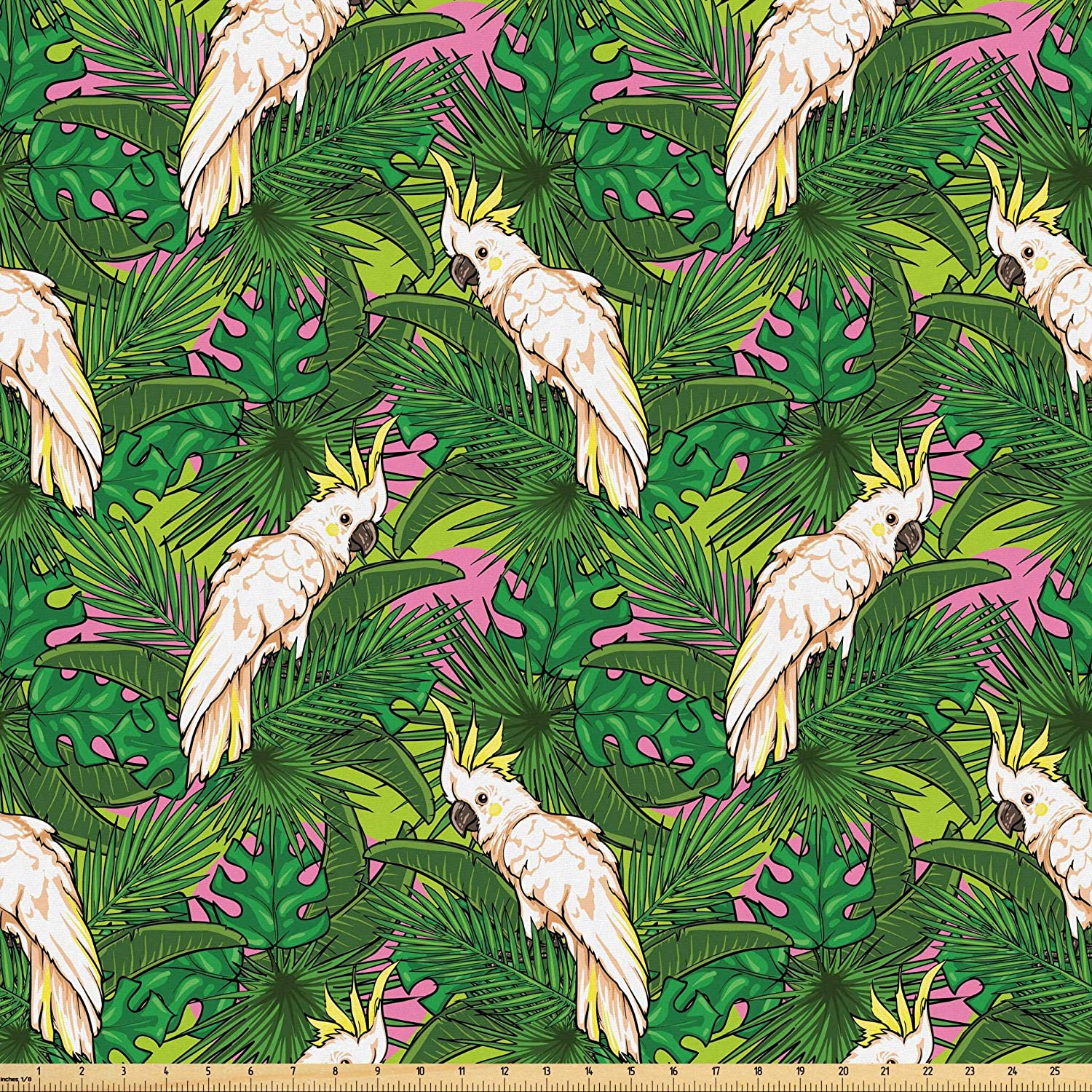 Lunarable Parrots Fabric by The Yard, Yellow Crested Cockatoo Bird with Tropical Foliage Exotic Caribbean Design, Microfiber Fabric for Arts and Crafts Textiles & Decor, 1 Yard, Cream Green