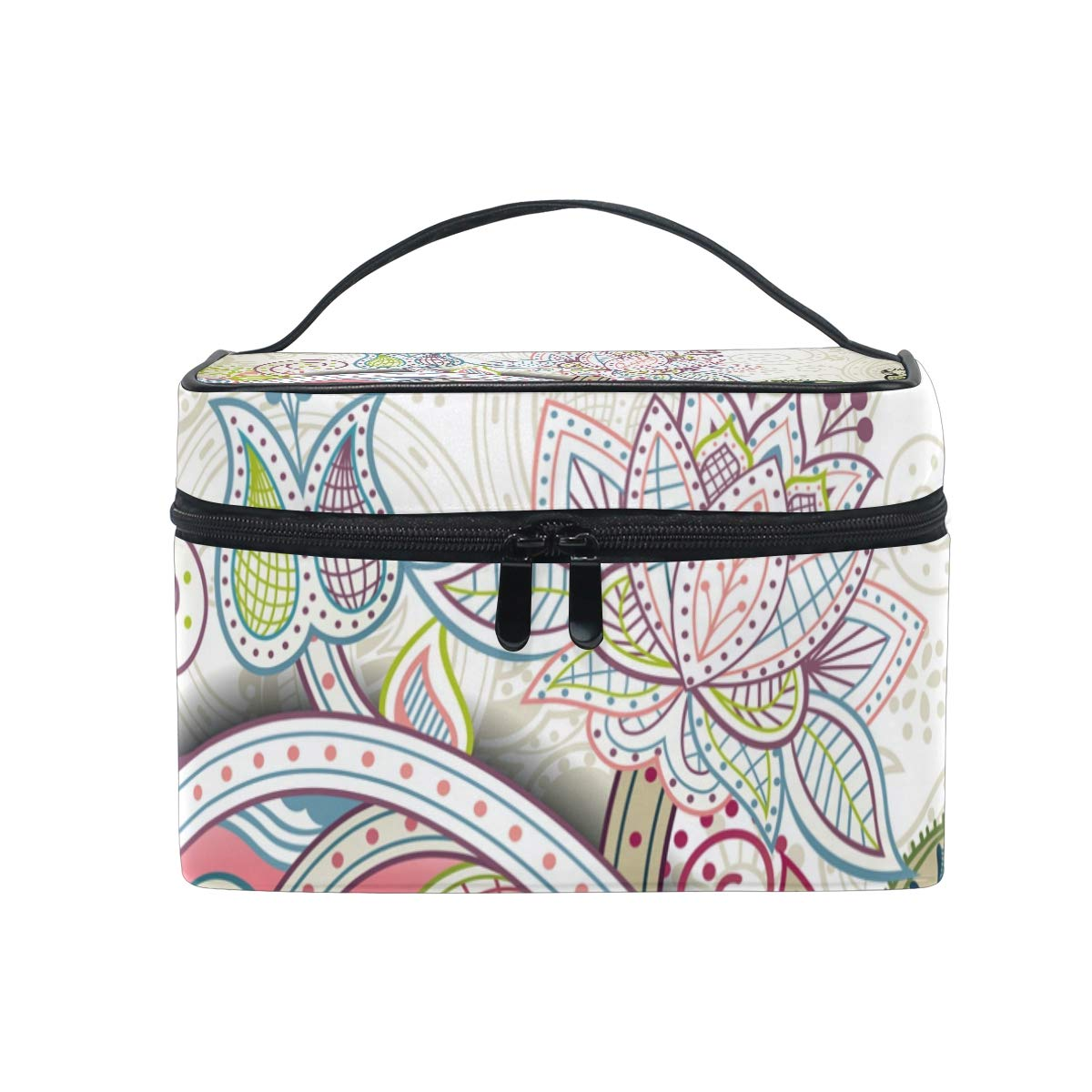 Makeup Bag Bohemian Blossom Retro Art Travel Cosmetic Bags Organizer Train Case Toiletry Make Up Pouch for Womens Girls
