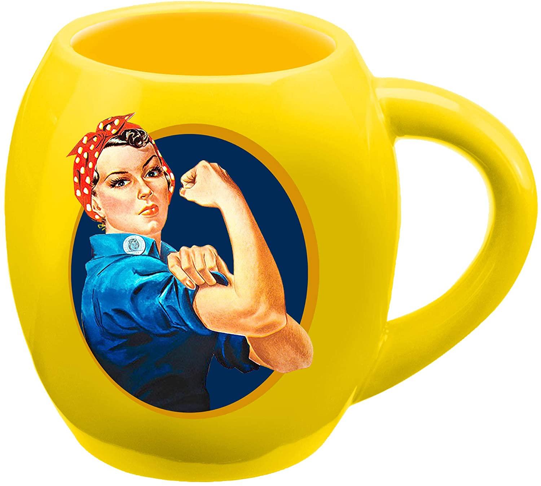 Vandor Smithsonian Rosie The Riveter 18 Oz. Oval Ceramic Mug, Yellow