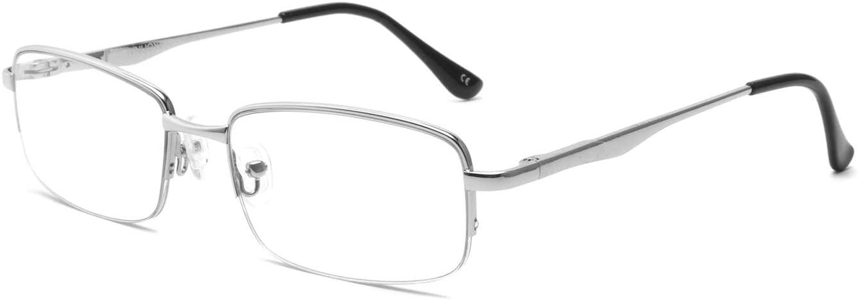 IVNUOYI Blue Light Blocking Reading Glasses Half Rim Metal Glasses Quality Spring Hinge Readers Men and Women