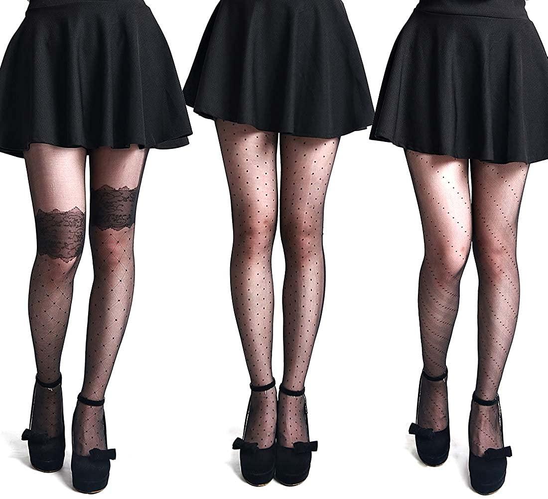 BMC Womens 3 Pair Nude Black Pantyhose Decorative Design Stocking - Set 6