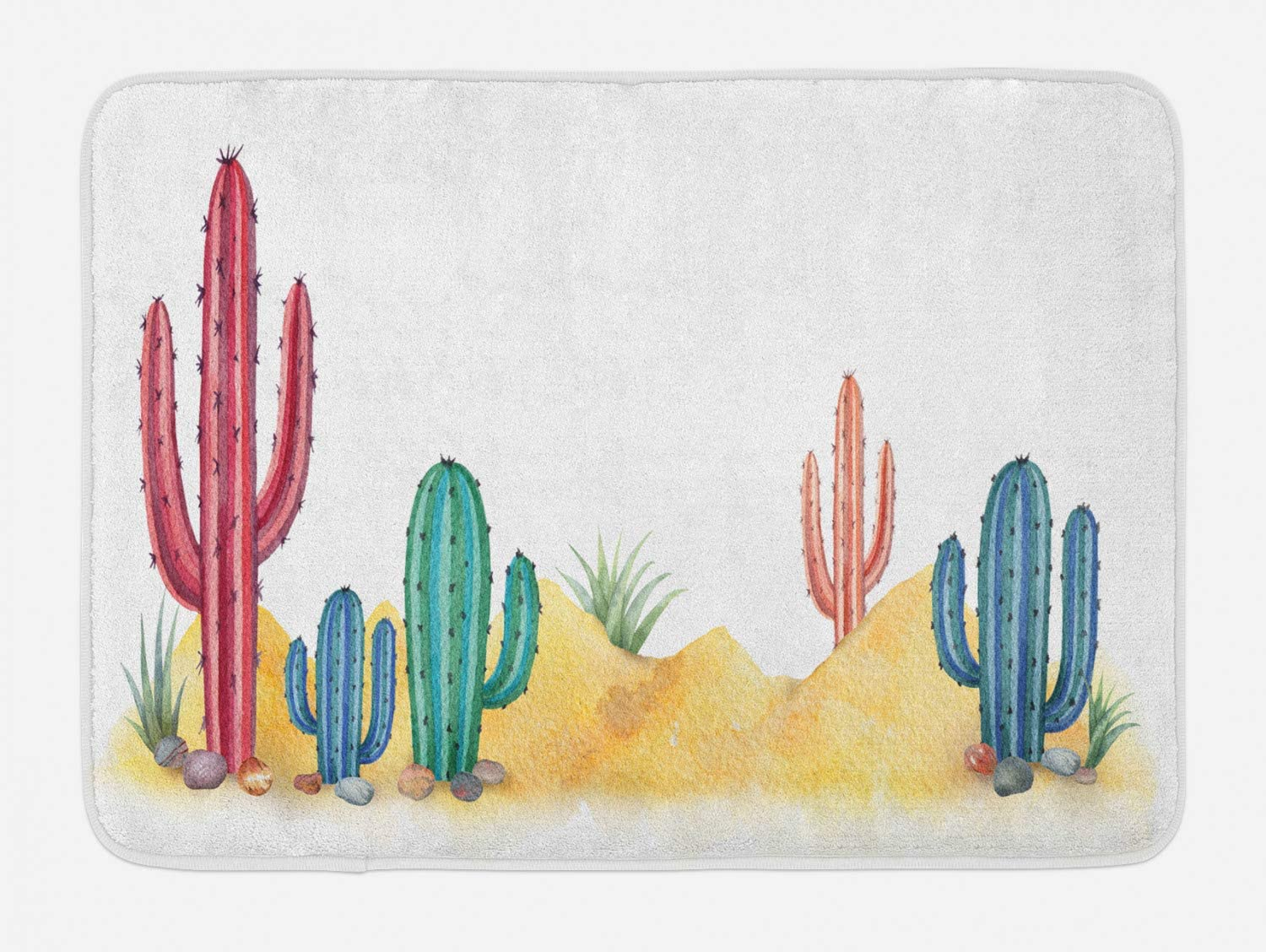 Lunarable Cactus Landscape Bath Mat, Watercolor Style Colorful Painted Cacti and Desert Hills Scenery Graphic, Plush Bathroom Decor Mat with Non Slip Backing, 29.5