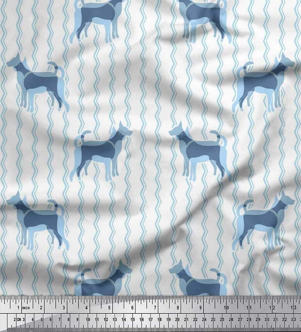 Soimoi Blue Cotton Duck Fabric Chevron & Great Dane Dog Print Fabric by The Yard 42 Inch Wide