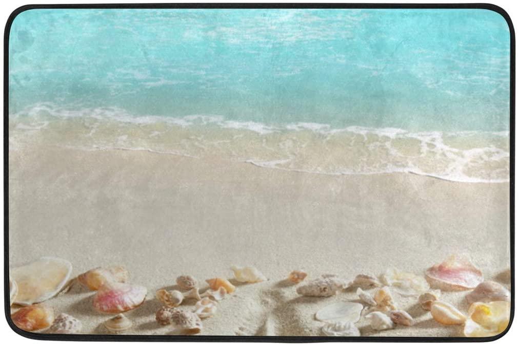 Doormat Area Rug Beach Sand Starfish Tropical Sea for Bedroom Front Door Kitchen Indoors Home Decors 23.6x15.7 inches