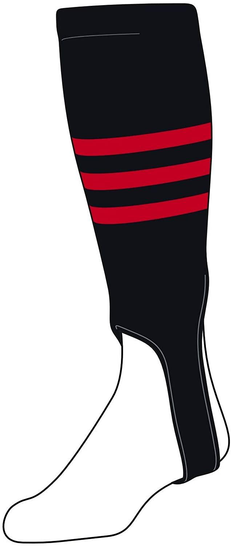 TCK Baseball Stirrups Small/Youth (100B, 4in) Black, Red