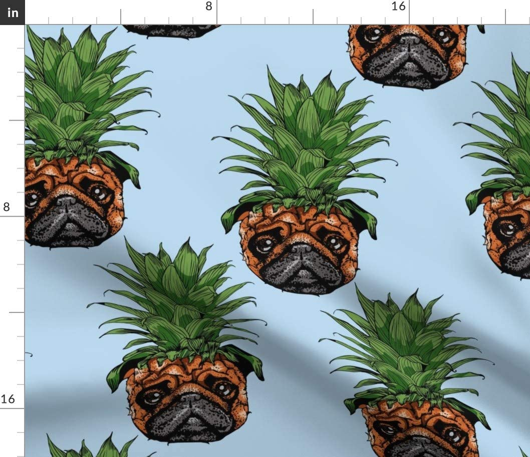 Spoonflower Fabric - Pineapple Pug Tropical Kawaii Pet Lover Printed on Minky Fabric by The Yard - Sewing Baby Blankets Quilt Backing Plush Toys