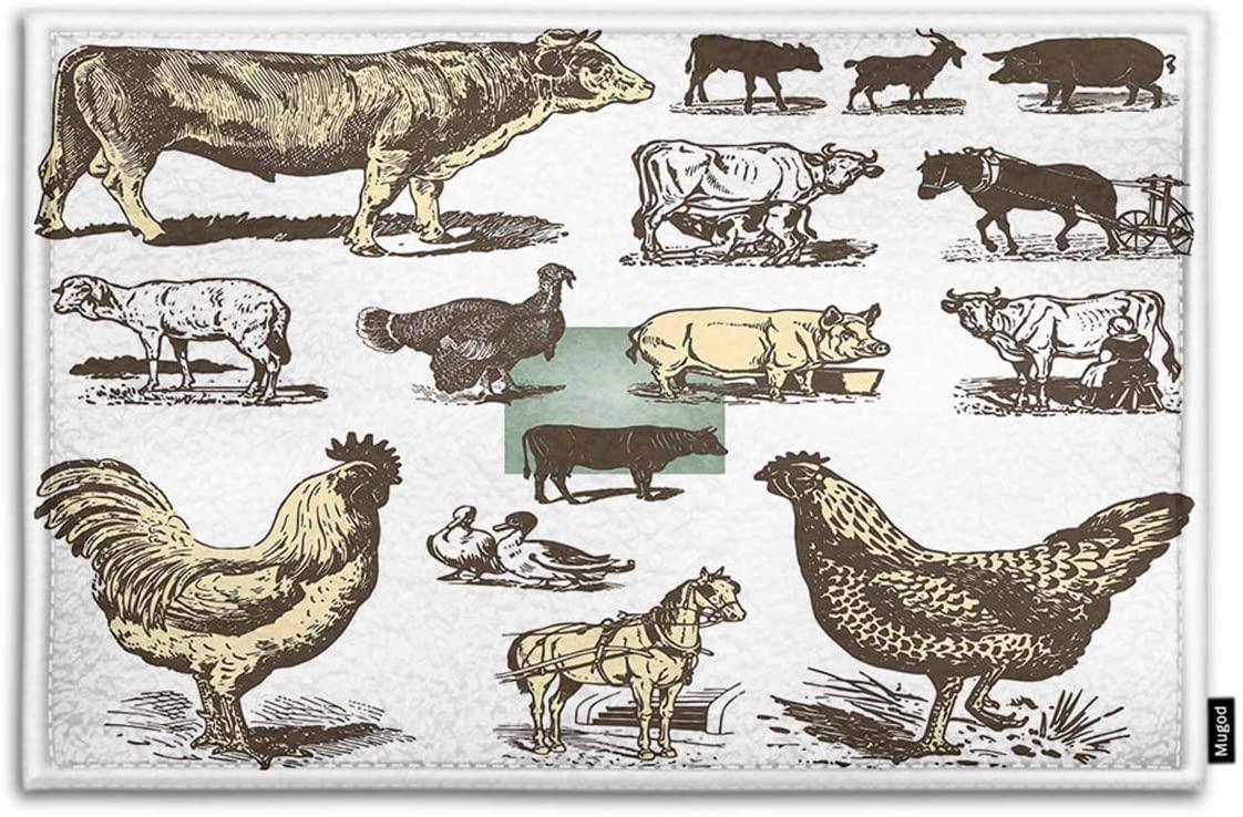 Mugod Livestock and Poultry Indoor/Outdoor Doormat Vintage Farm Animals Drawings Set Funny Doormats Bathroom Kitchen Decor Area Rug Non Slip Entrance Door Floor Mats, 18