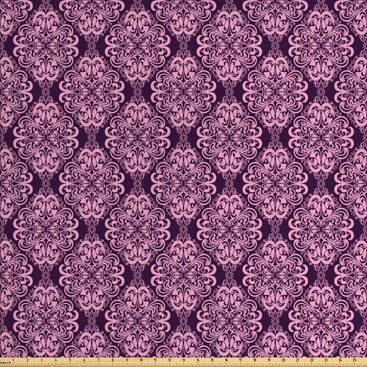 Ambesonne Purple Fabric by The Yard, Victorian Romantic Damasked Floral Oriental Swirl Pattern Artwork Image, Decorative Fabric for Upholstery and Home Accents, 1 Yard, Plum and Pale Pink