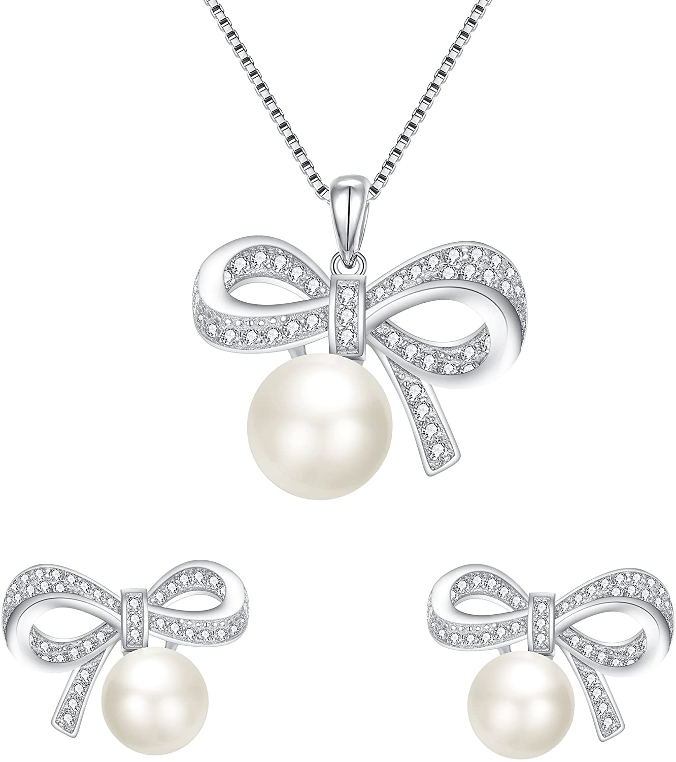 BriLove Women 925 Sterling Silver CZ AAA Freshwater Cultured Pearl Necklace Earrings Set
