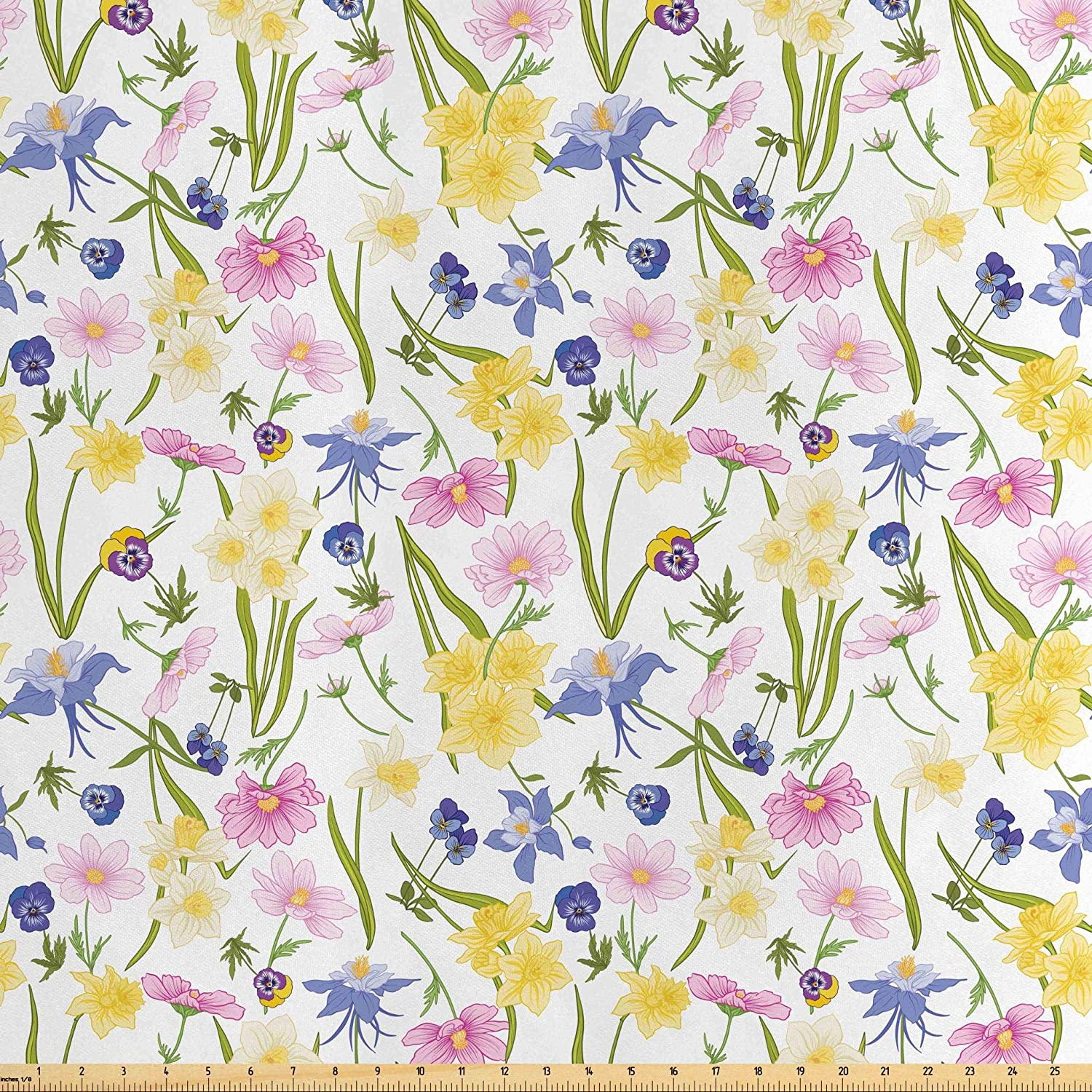 Lunarable Gardening Fabric by The Yard, Soft Colored Botanical Concept of Pansies Lilies Poppy Flowers and Wild Herbs, Decorative Satin Fabric for Home Textiles and Crafts, 3 Yards, Multicolor