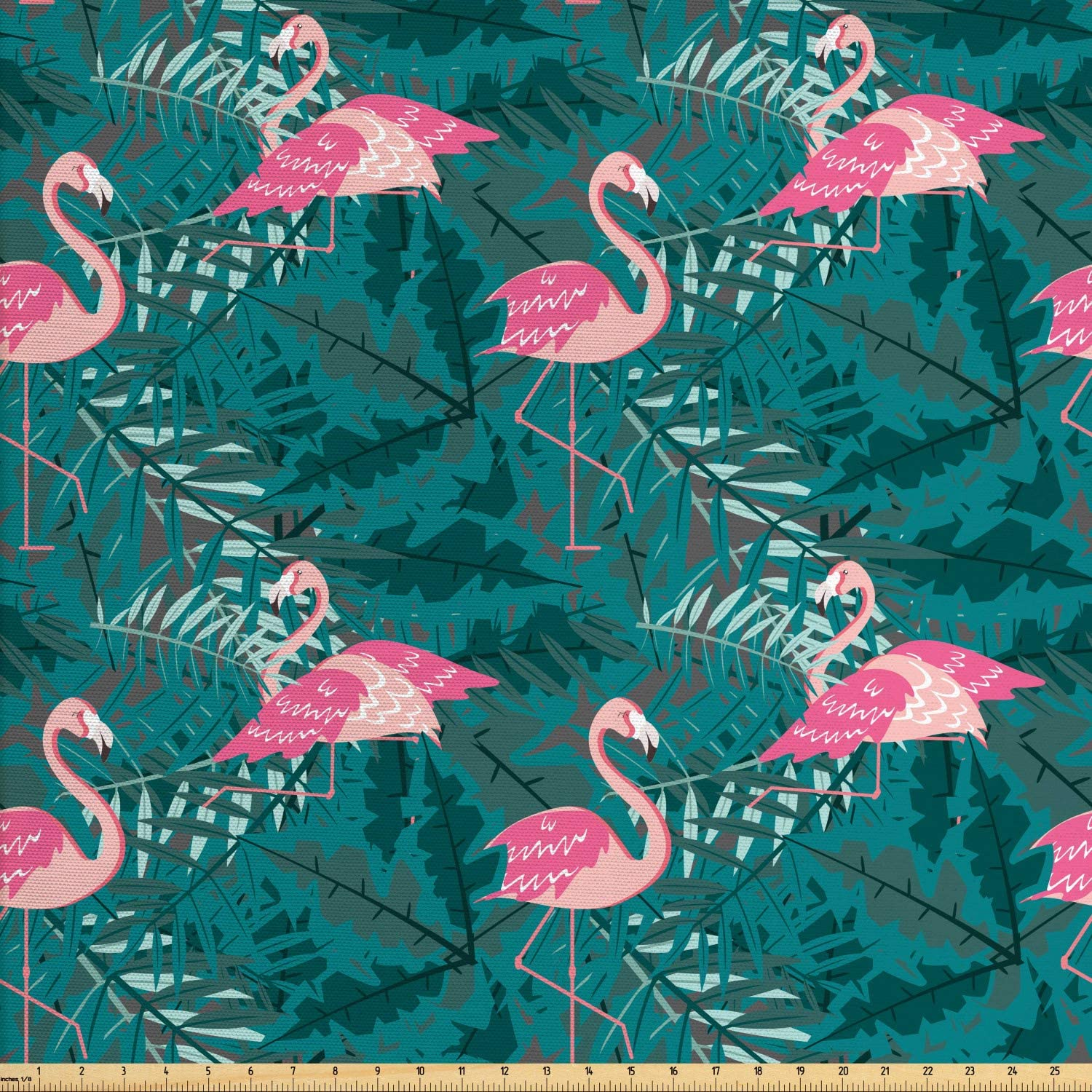 Ambesonne Flamingo Fabric by The Yard, Repeating Exotic Pattern of Tropic Birds on Leaves Island Setting Creatures, Decorative Fabric for Upholstery and Home Accents, 1 Yard, Teal and Pink