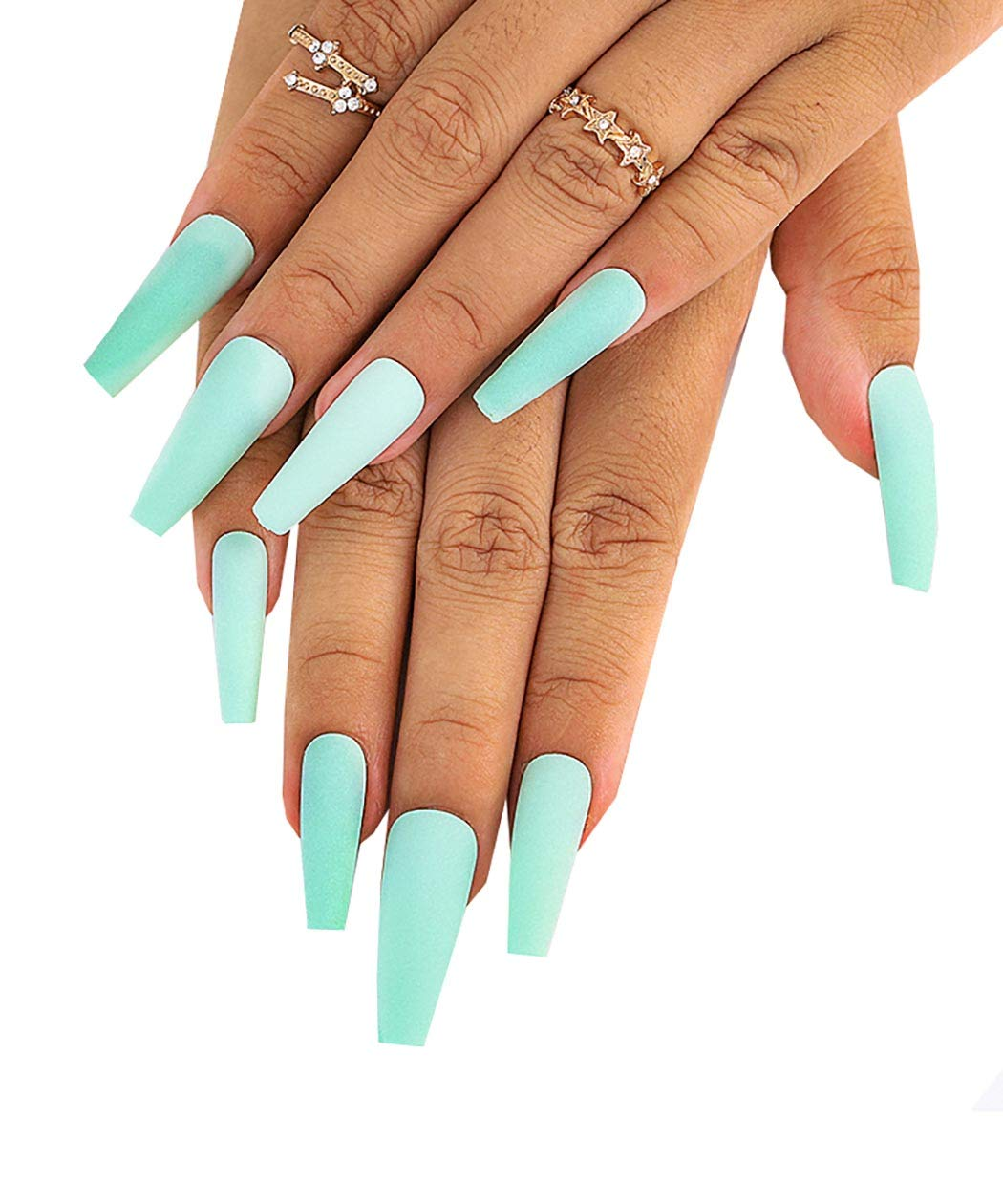 Fstrend Coffin Fake Nails Extra Long Ballet Ballerina Green Matte Full Acrylic Cover Press on Nail for Women and Girls (Light Green)