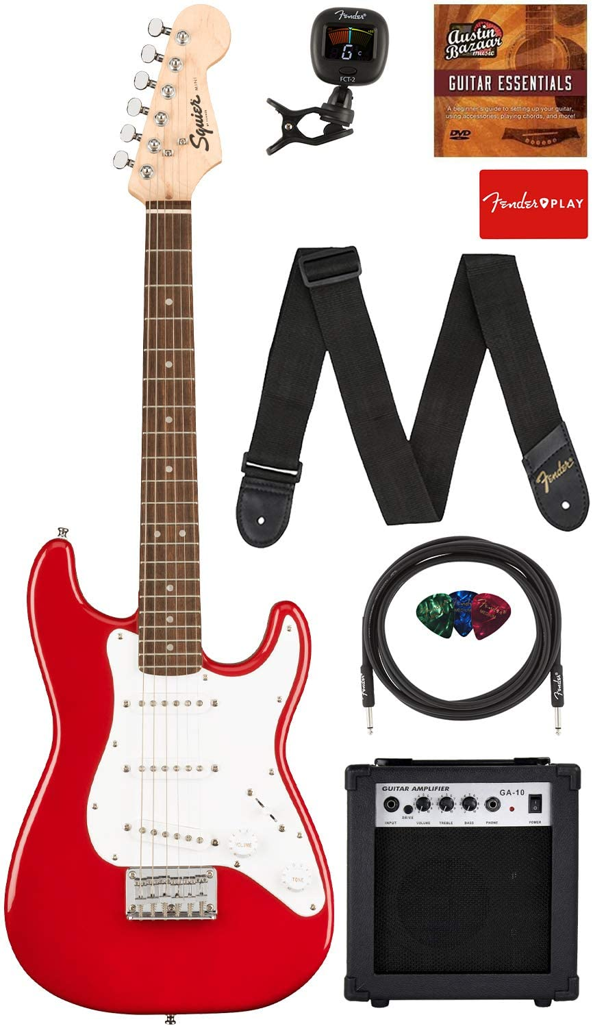 Fender Squier 3/4 Size Kids Mini Stratocaster Electric Guitar Learn-to-Play Bundle with Amp, Cable, Tuner, Strap, Picks, Fender Play Online Lessons, and Austin Bazaar Instructional DVD - Dakota Red