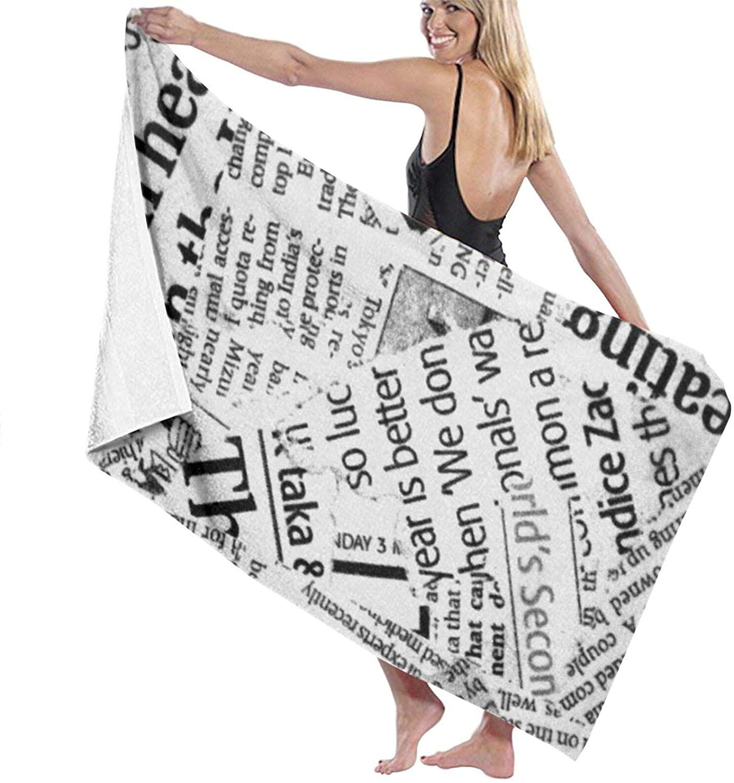 NiYoung Women's Wrap, Shower & Bath, Spa Towel Ancient Newspaper Bath Towel Microfiber Soft Thick Super Absorbent