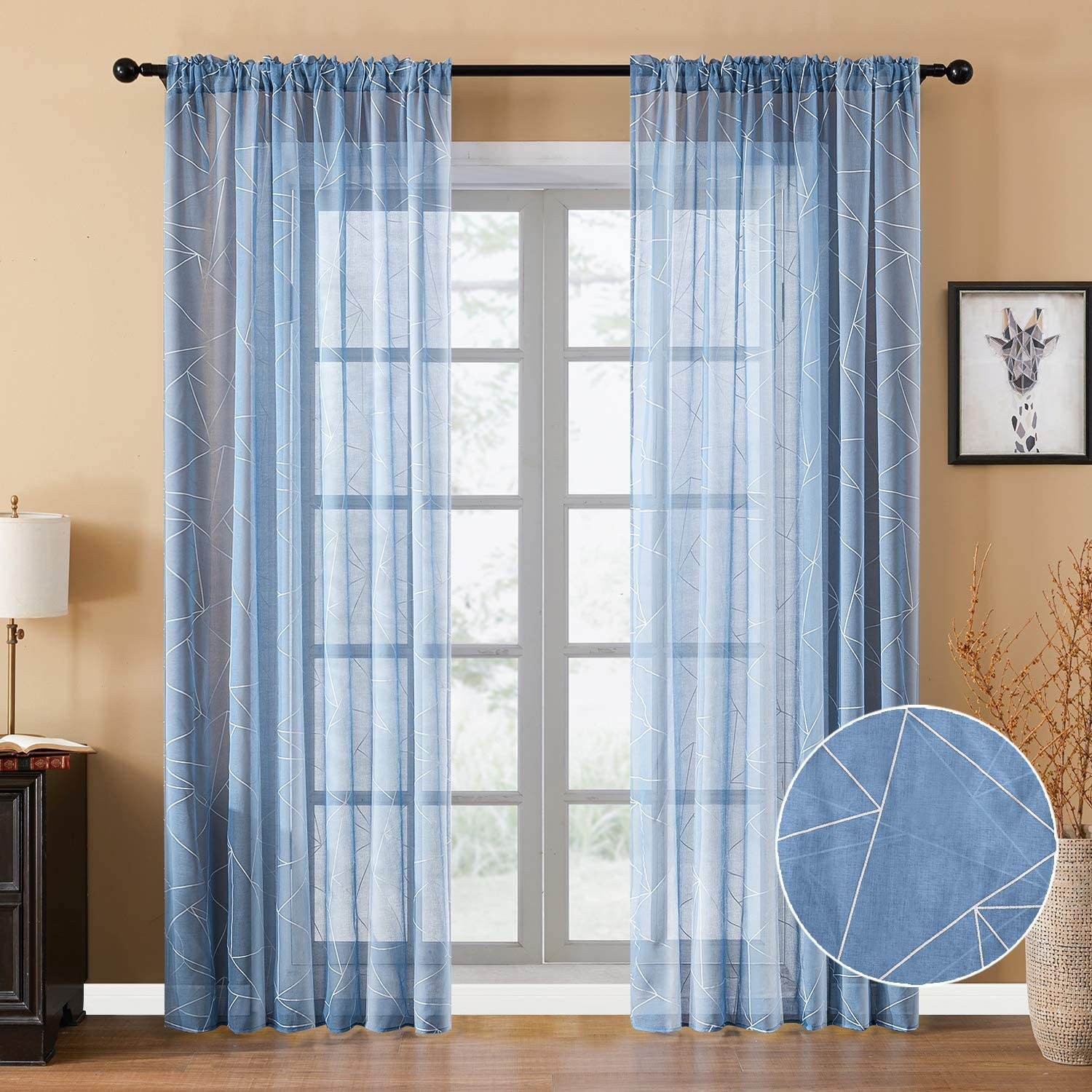 YOKISTG Faux Linen Sheer Curtains 96 Inches Long Rod Pocket Printed Geometry Window Curtains for Bedroom Living Room, Blue, 2 Panels