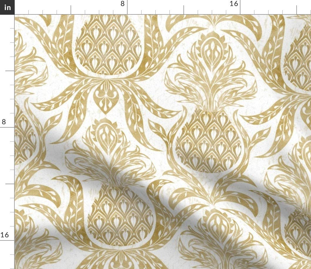Spoonflower Fabric - Golden Pineapple Farmhouse Modern White Neutral Vintage Damask Printed on Petal Signature Cotton Fabric by The Yard - Sewing Quilting Apparel Crafts Decor