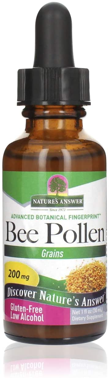 Natures Answer Bee Pollen Supplement with Organic Alcohol, 1-Fluid Ounce | Packed with Enzymes & Vitamins | Natural Proteins | Promotes Overall Wellness