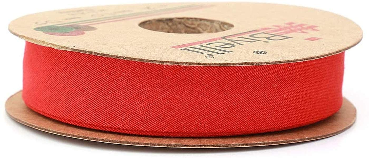 Hobby Trendy Cotton Bias Binding Tape (Single Fold) 20mm-13/16inch (10meters-10.93yards) (Red)