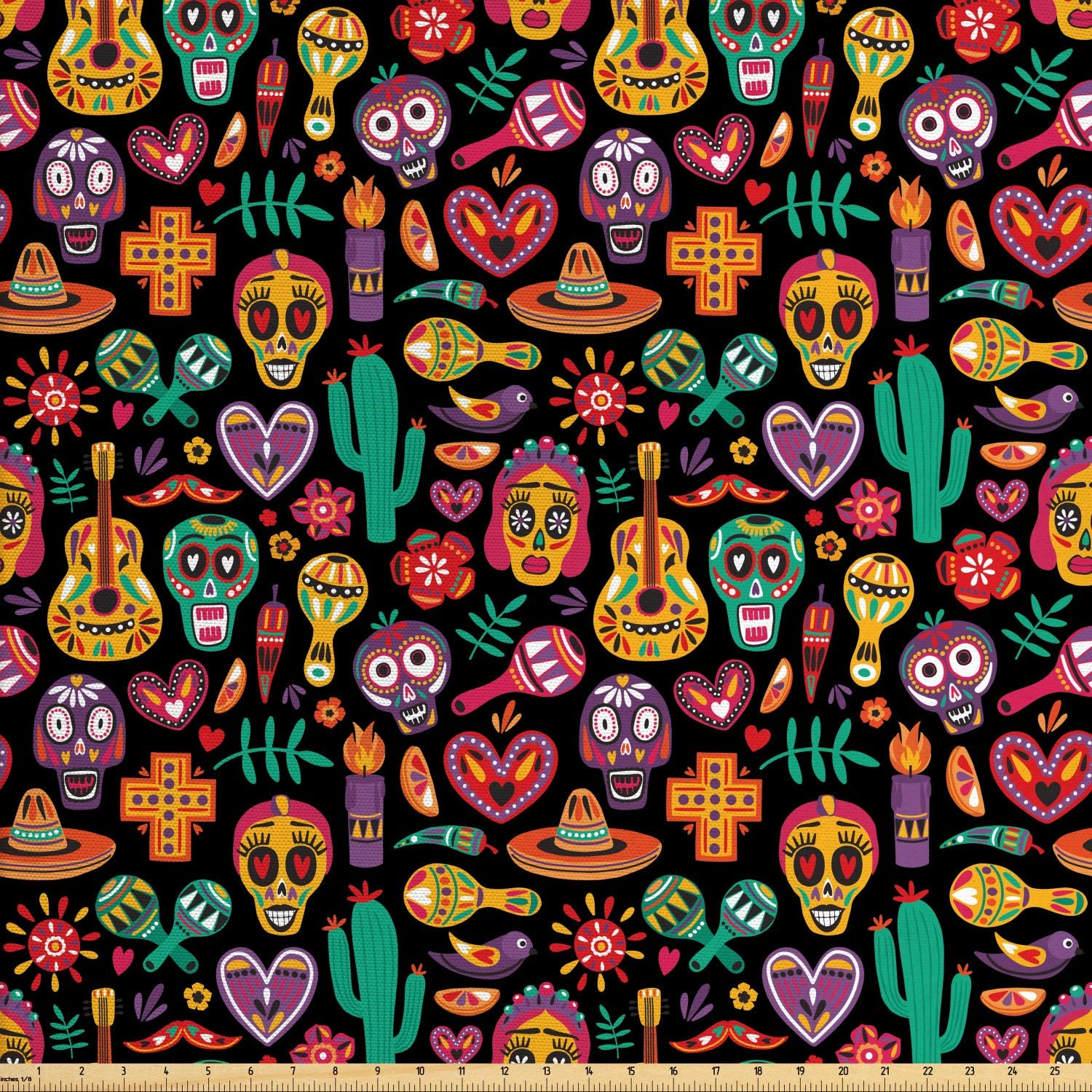 Ambesonne Day of The Dead Fabric by The Yard, Continuous Sugar Skull Flowers Pepper and Maracas Pattern, Decorative Fabric for Upholstery and Home Accents, 5 Yards, Charcoal Grey