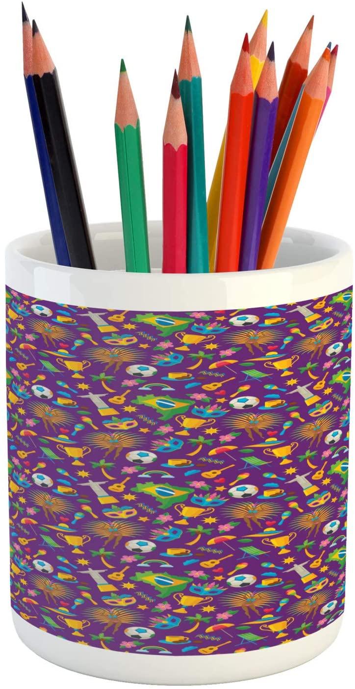 Ambesonne Carnival Pencil Pen Holder, Brazilian ands Map Flag Samba Dancer Beach Cup Flowers, Printed Ceramic Pencil Pen Holder for Desk Office Accessory, Dark Violet Multicolor