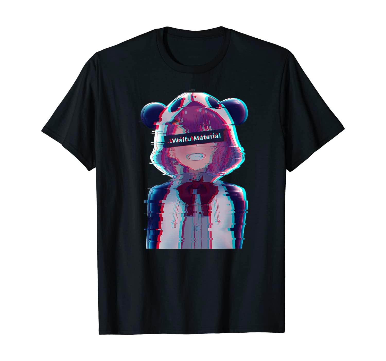 Anime Girl Waifu Aesthetic Vaporwave Glitch Manga Panda Girl T-Shirt