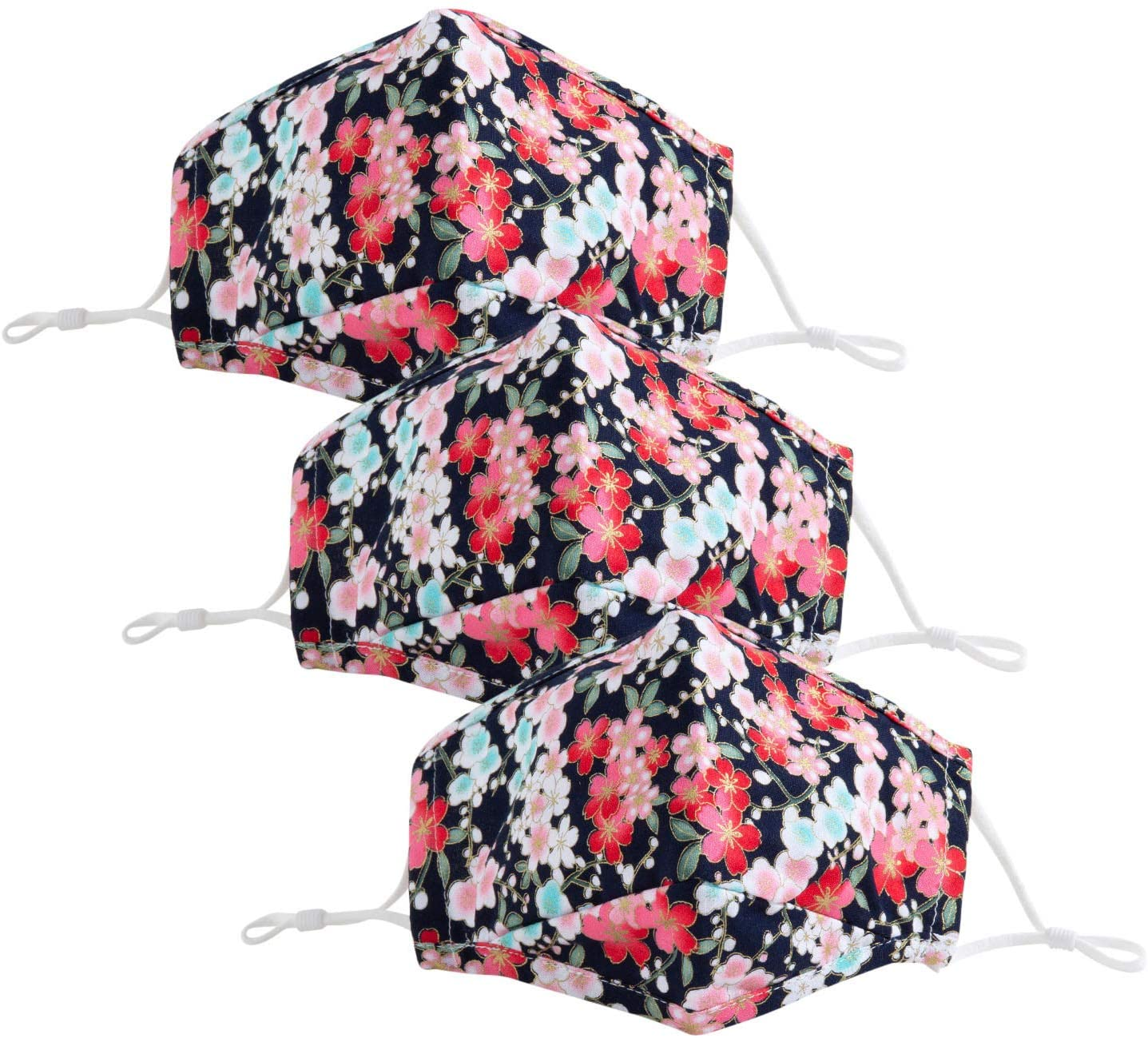 3pcs Fashion Men Women Ladies Reuse Face_mask Face Protective Reusable with Filter Pocket, Cute Colorful Floral Washable Cotton Cloth Dust Coverings with Adjustable Ear Loops, Breathable