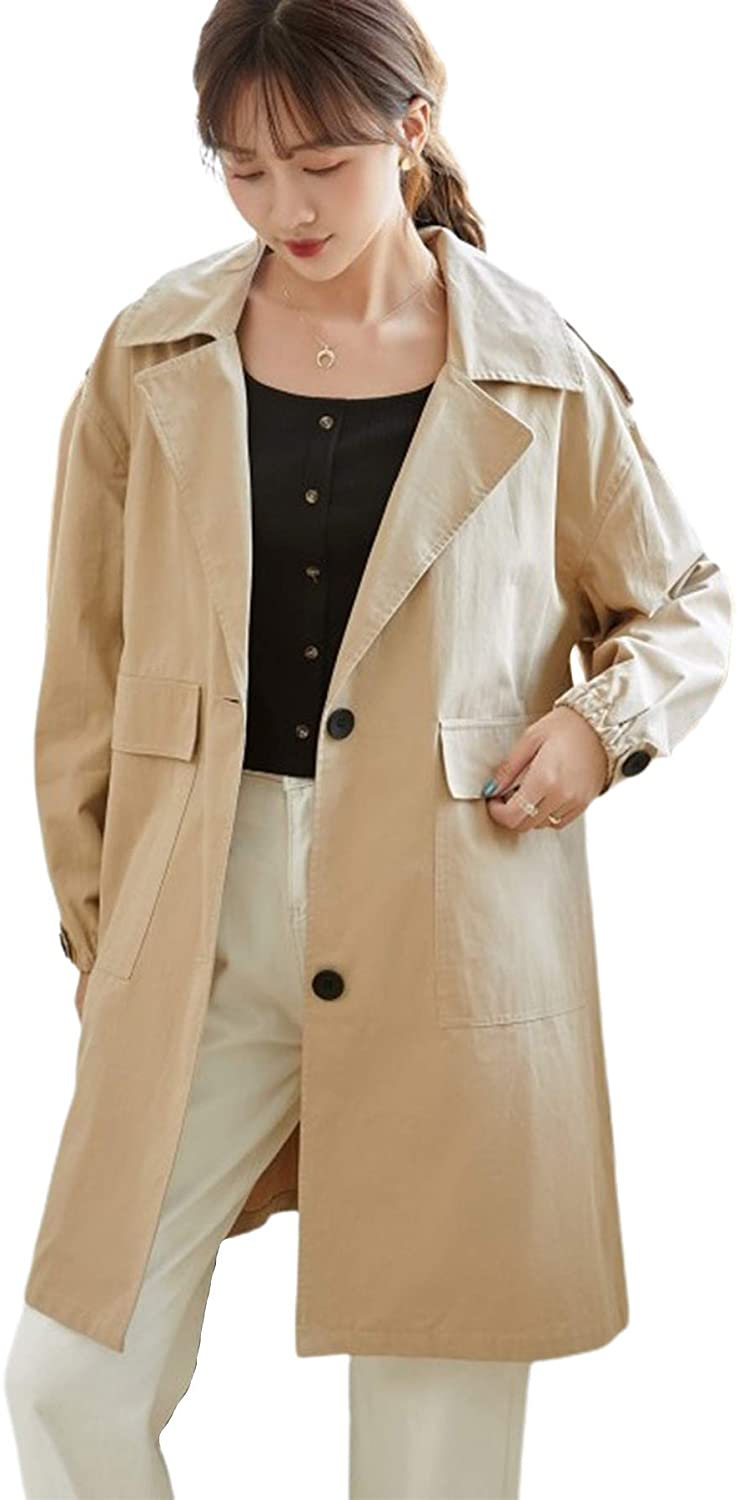 CHARTOU Women's Lightweight Notched Collar 2-Button Midi Long Trench Coat