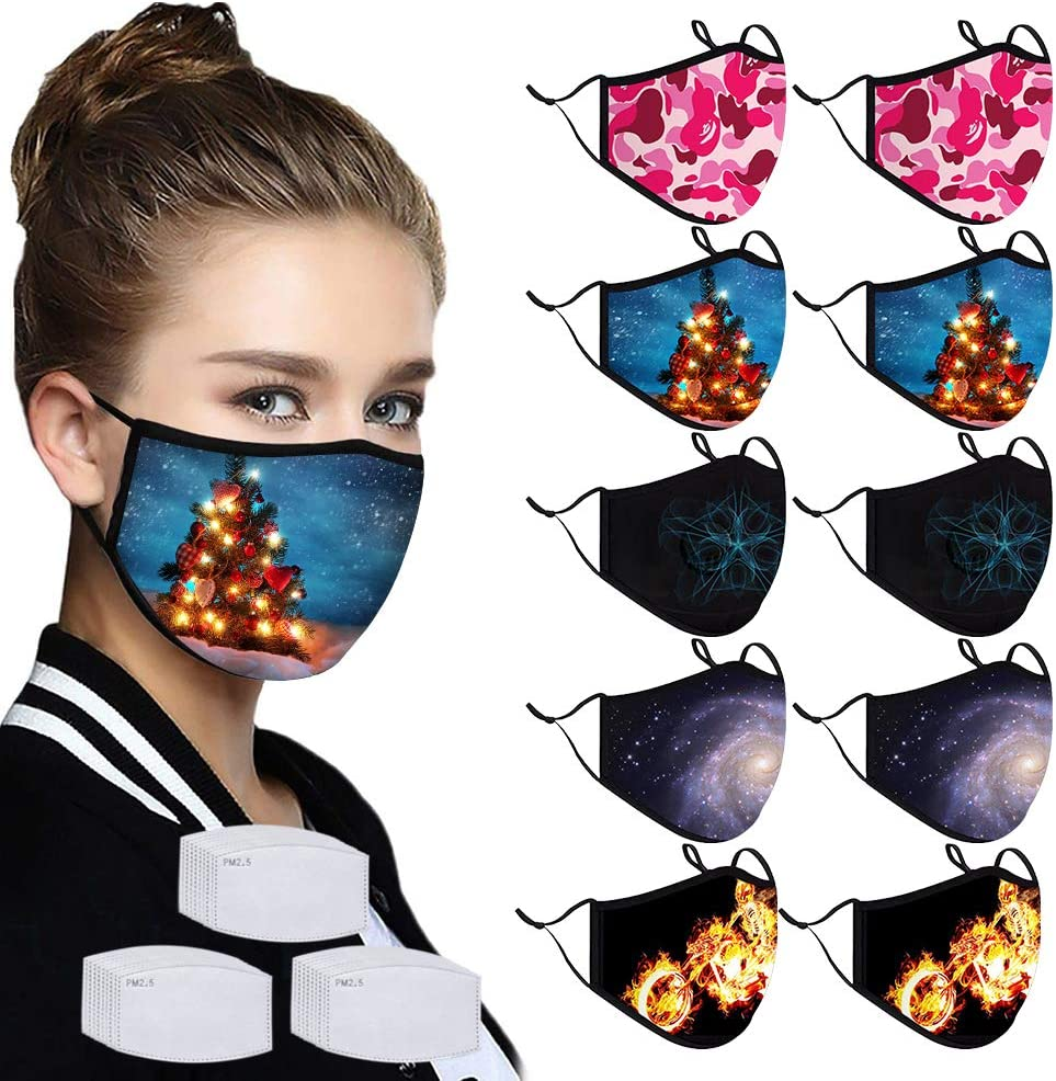 10PCS Unisex Fashion Printed Cotton Fabric Protective Anti-Dust Face Protection Washable and Reusable with 30Pcs Filters for Halloween, Christmas, Party